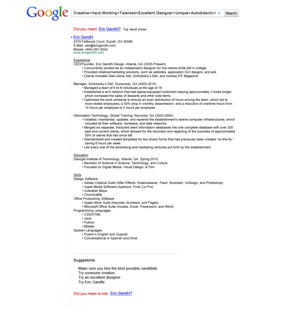 google resume sample