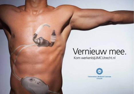Door alle hightech apparatuur zie je soms (letterlijk) de patiënt niet meer liggen. Bij het Universitair Medisch Centrum Utrecht begint alle innovatie bij de patiënt. Of, in deze campagne, eróp (bodypaint). In verschillende uitingen worden neurologisch onderzoek, robotchirurgie en een steunhart verbeeld.