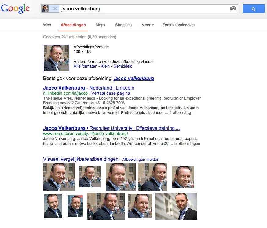 Zoekresultaten Google image search